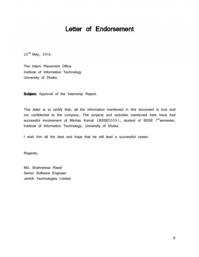 Endorsement Letter Sample New Letter Of Endorsement Sample In