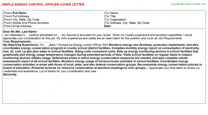 Energy Consulting Cover Letters