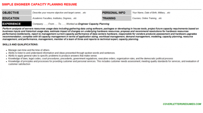 Engineer Capacity Planning Job Cover Letter   Resume