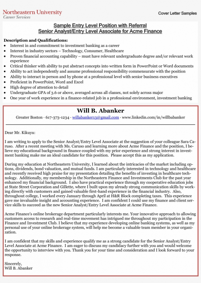 Entry Level Business Analyst Cover Letter Main Image