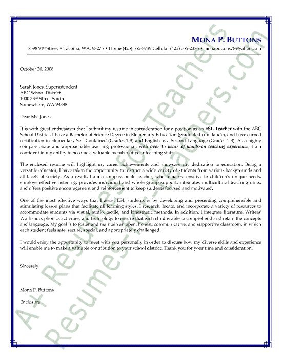 Esl English As A Second Language Teacher Cover Letter Sample