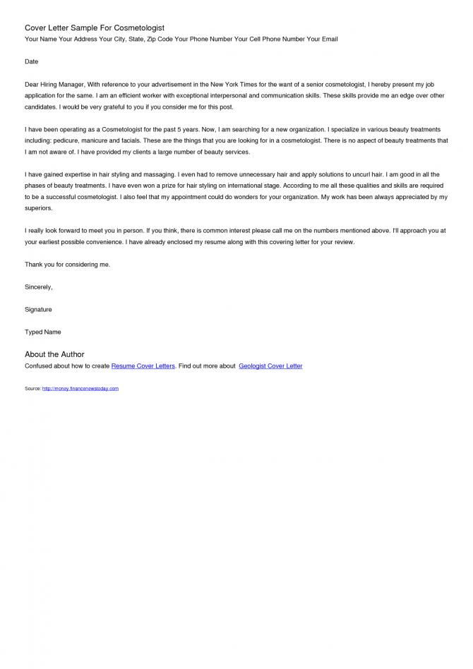 Esthetician Cover Lettercareer Resume Template