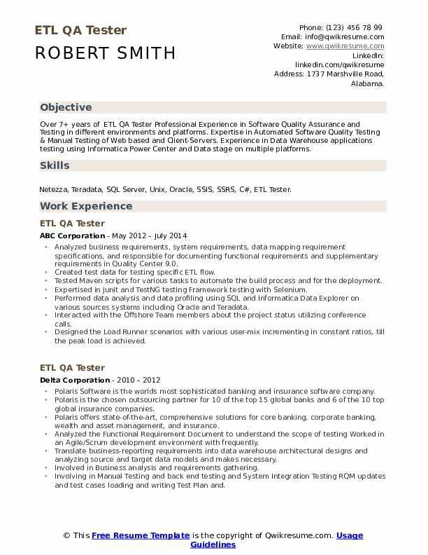 Etl Qa Tester Resume Samples