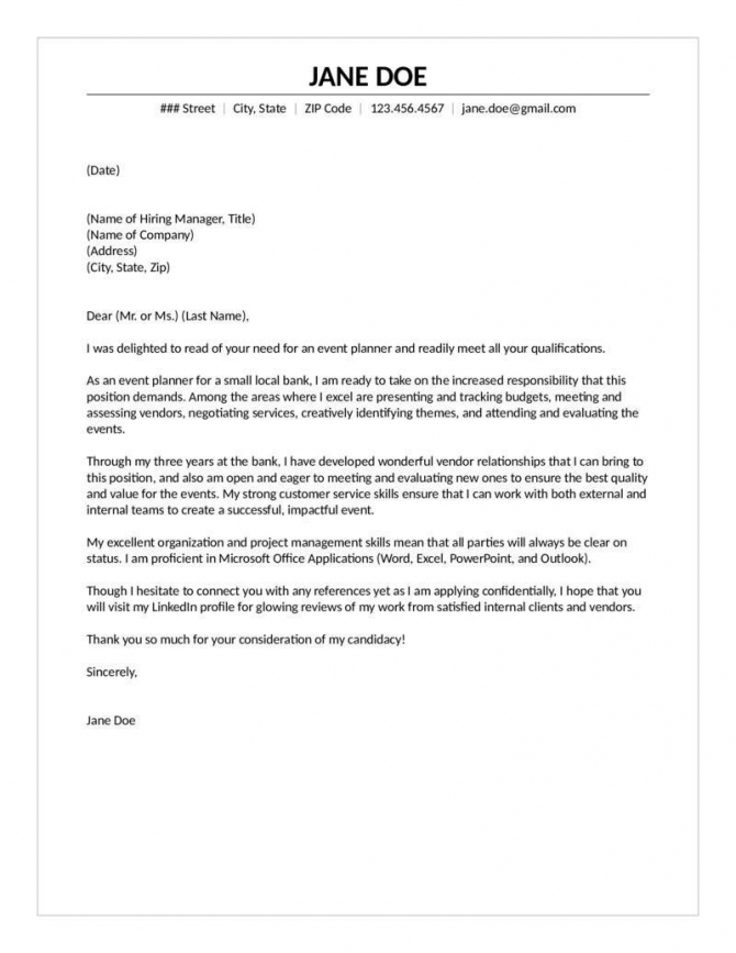 Event Planner Cover Letter Experienced