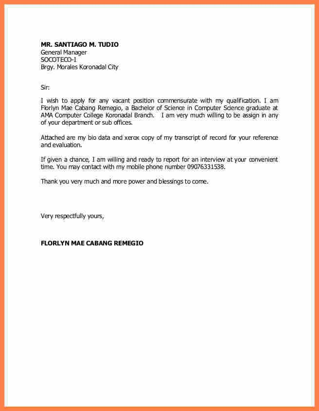 Example Application Letter Any Vacant Position For Job Vacancy