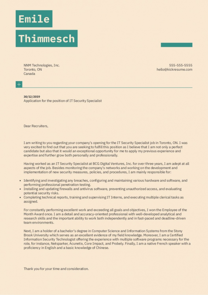 Explore Our Sample Of Cover Letter Template For Security Job In