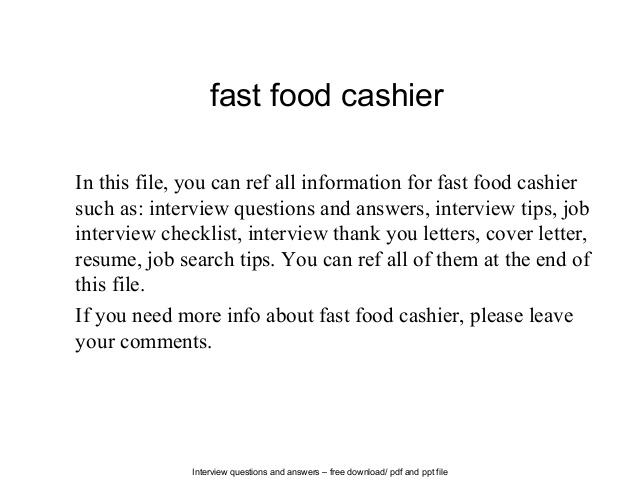 Fast Food Cashier