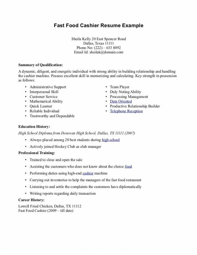 Fast Food Cashier Resume Example