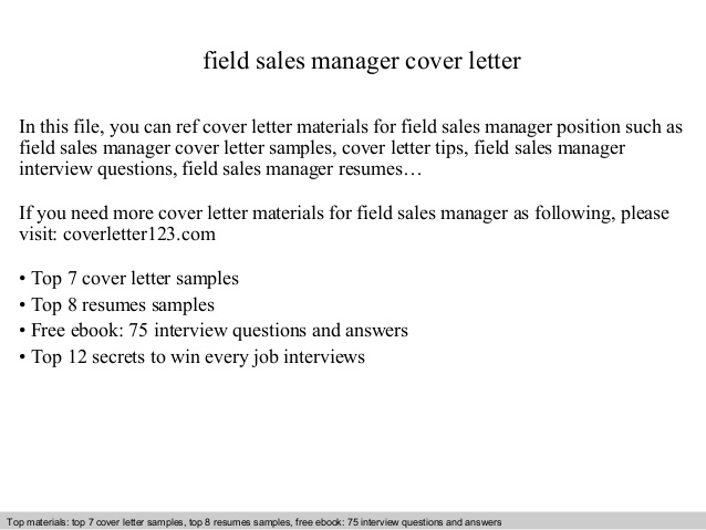 Field Sales Manager Cover Letter