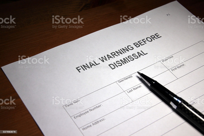 Final Warning Before Dismissal Stock Photo