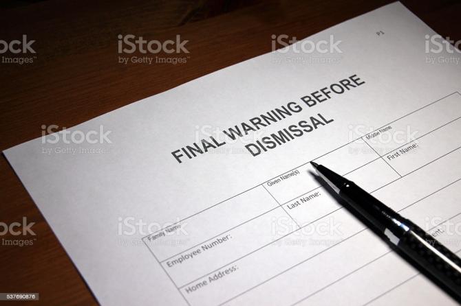 Final Warning Before Dismissal Stock Photo