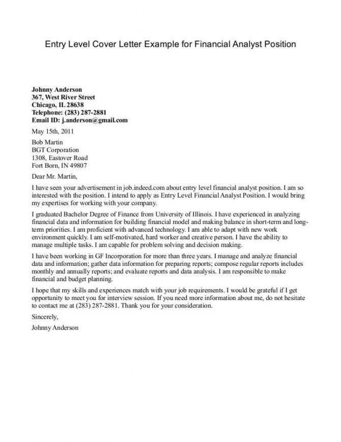 Entry-Level Finance Cover Letter