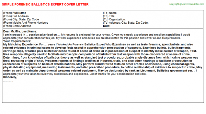 Forensic Accountant Cover Letters