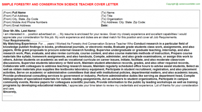 Forestry And Conservation Science Teacher Job Templates