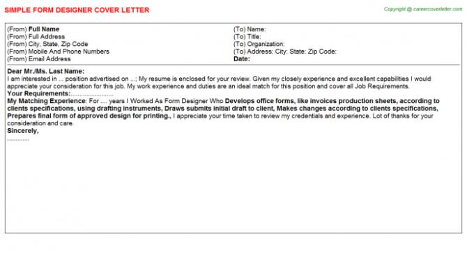 Form Designer Cover Letter