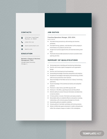 Franchise Operations Manager Resume Template