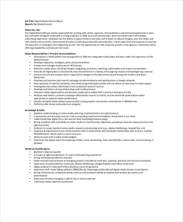 Free  Media Planner Job Description Samples In Ms Word