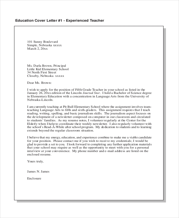 Free  Sample Teacher Cover Letters In Pdf