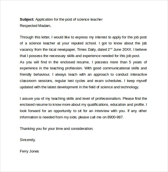 Free  Teacher Cover Letter Templates In Pdf