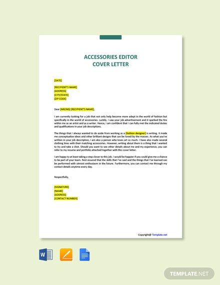 Free Accessories Editor Cover Letter