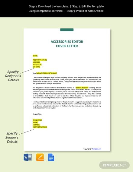 Free Accessories Editor Cover Letter Template In