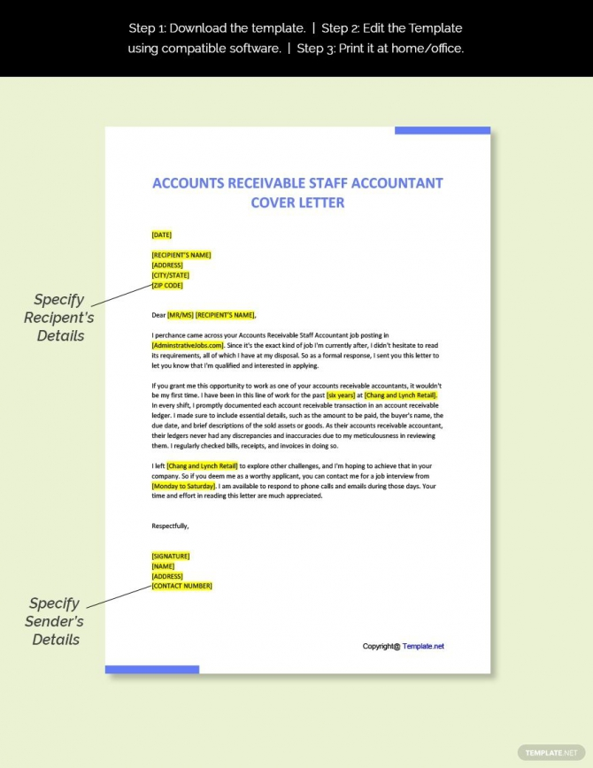 Free Accounts Receivable Staff Accountant Cover Letter Template In