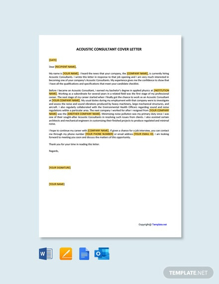 Free Acoustic Consultant Cover Letter