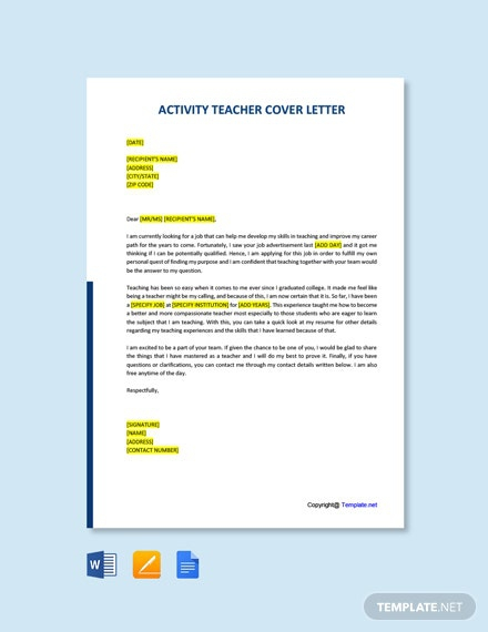 Free Activity Teacher Cover Letter Template