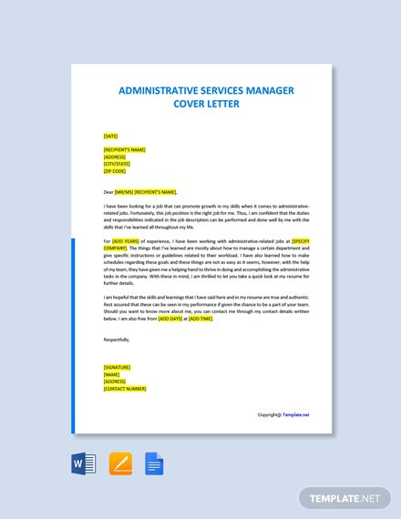 Free Administrative Services Manager Cover Letter Template