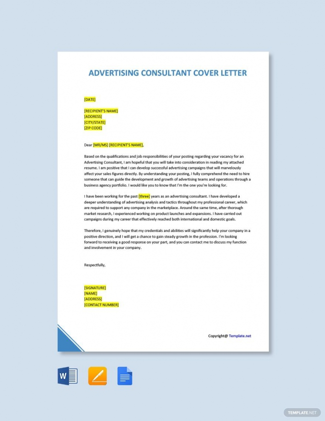 Free Advertising Consultant Cover Letter Template In