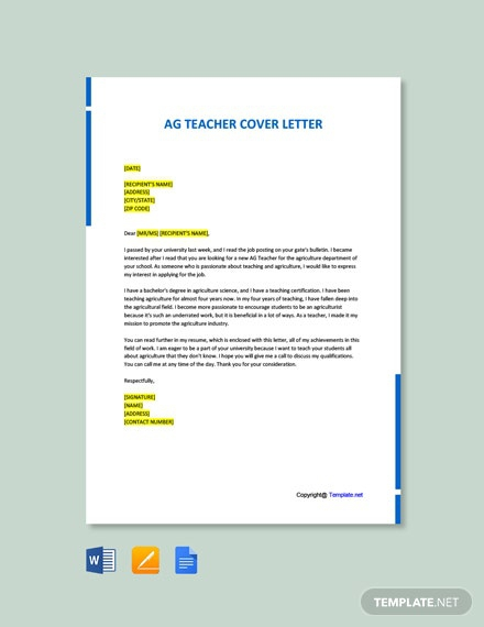 Free Ag Teacher Cover Letter Template