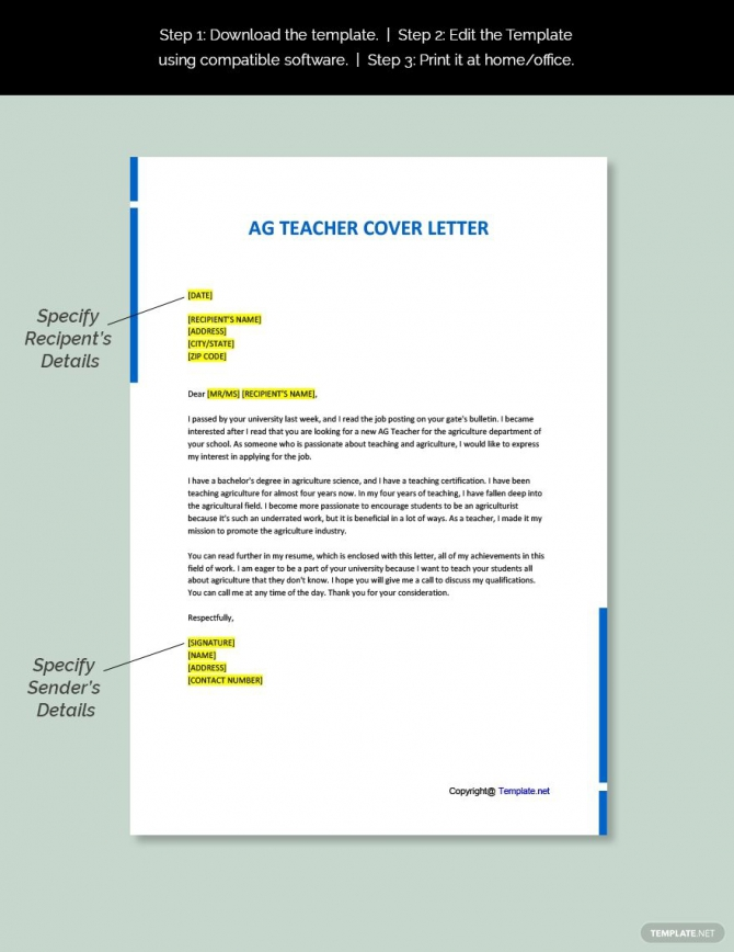 Free Ag Teacher Cover Letter Template Ad    Affiliate  Teacher