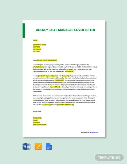 Free Agency Sales Manager Cover Letter Template
