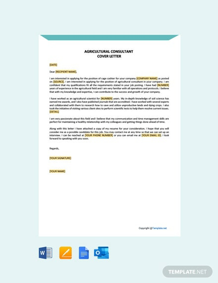Free Agricultural Consultant Cover Letter
