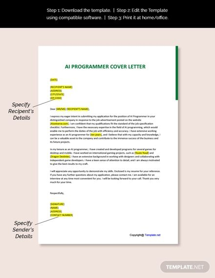 Free Ai Programmer Cover Letter Template Ad    Affiliate