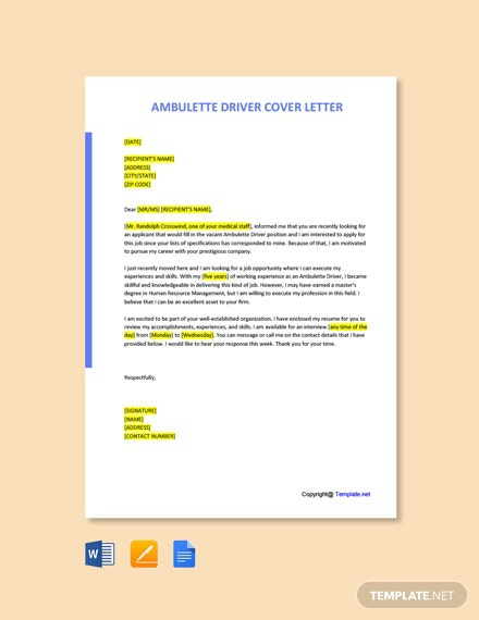 Free Ambulette Driver Cover Letter Template