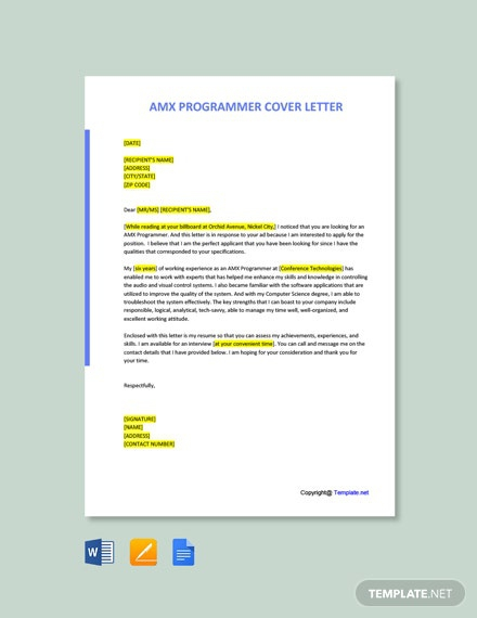 Free Amx Programmer Cover Letter Template