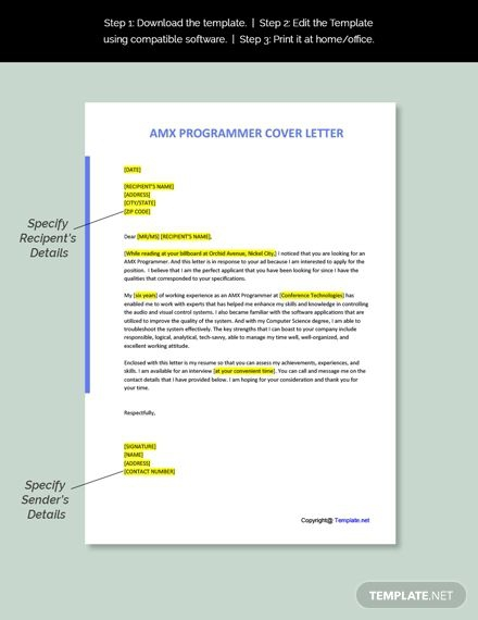 Free Amx Programmer Cover Letter Template In