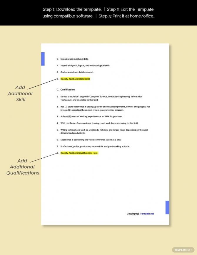 Free Amx Programmer Job Description Template Ad    Paid