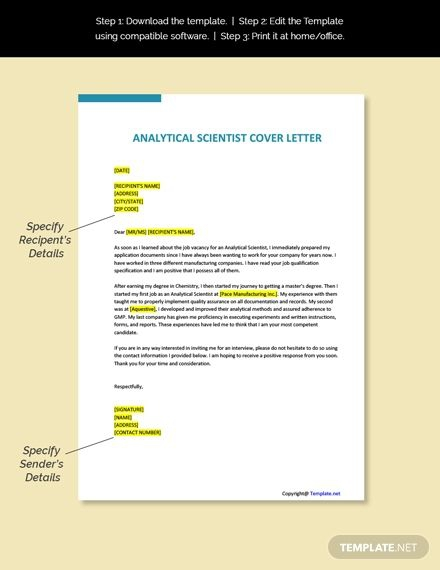 Free Analytical Scientist Cover Letter Template In