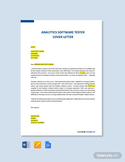 Free Analytics Software Tester Cover Letter Template