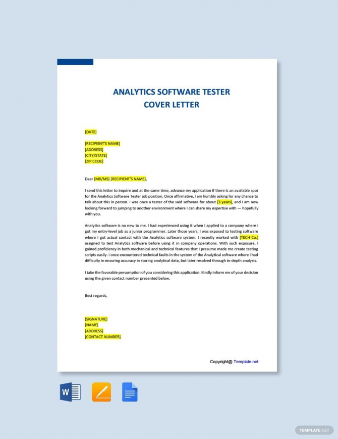 Free Analytics Software Tester Cover Letter Template In