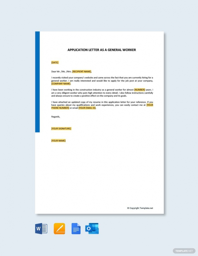 Free Application Letter As A General Worker Template