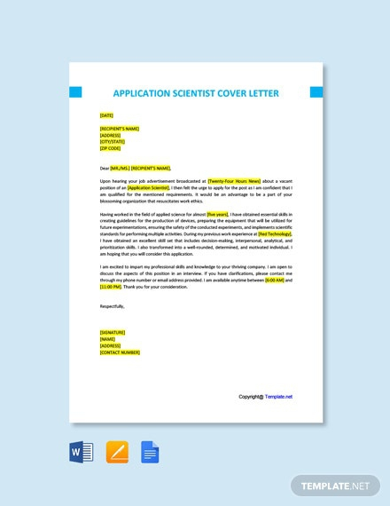 Free Application Scientist Cover Letter Template