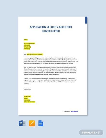 Free Application Security Architect Cover Template