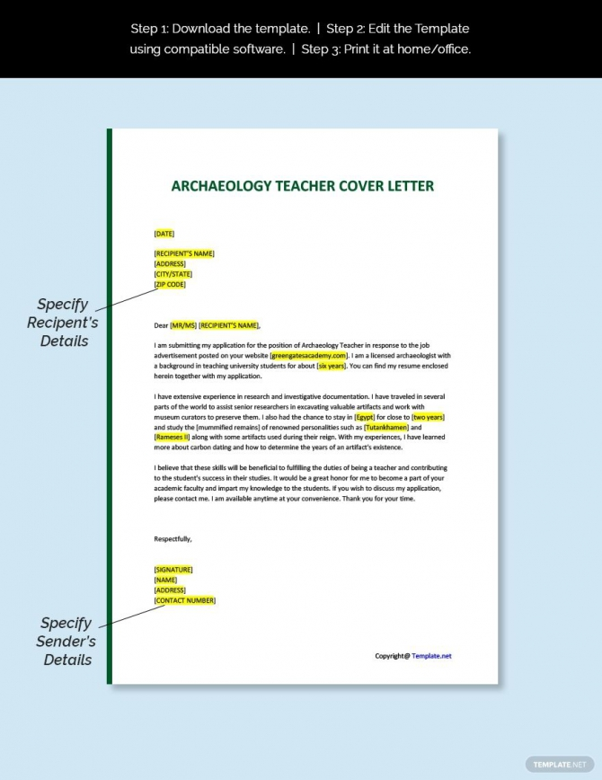 Free Archaeology Teacher Cover Letter Template In