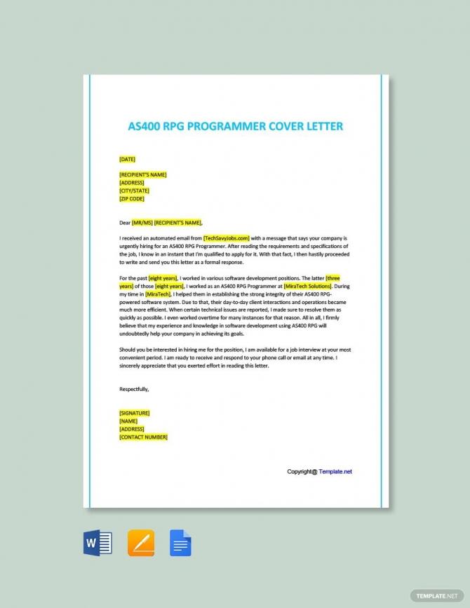Free As Rpg Programmer Cover Letter