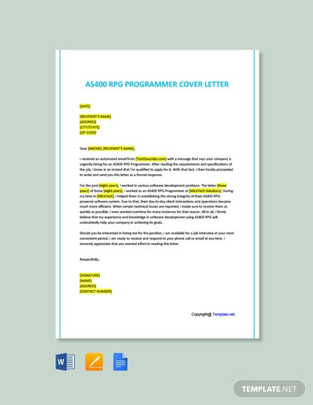 Free As Rpg Programmer Cover Letter Template