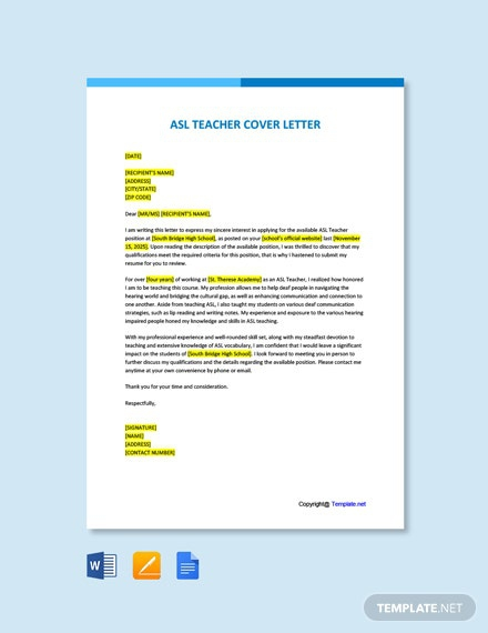 Free Asl Teacher Cover Letter Template