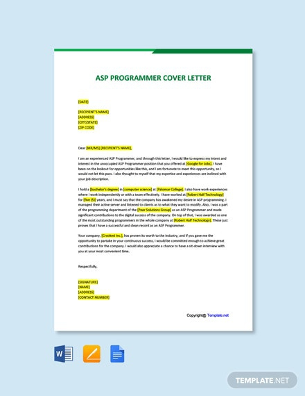 Free Asp Programmer Cover Letter Template